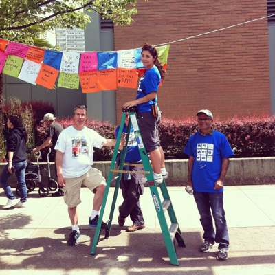 "@westendbia: ""Executive Director Stephen Regan helping the #WestEndQuilt team hang"