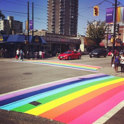 "@westendbia: ""Canada's first ever rainbow crosswalks just debuted on Davie"