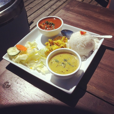 "@westendbia: ""Today's lunch special at @GurkhaCA: Chicken curry, potato salad,"