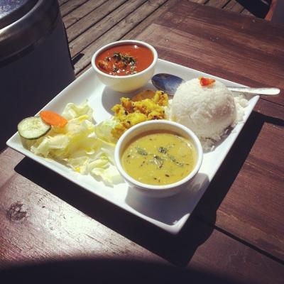 "@westendbia: ""Today's lunch special at @GurkhaCA: Chicken curry, potato salad,"