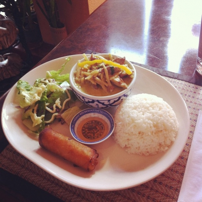 "@westendbia: ""Thida Thai's green curry with beef lunch special. A"