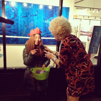 "@westendbia: ""Conni Smudge interviewing one of our amazing #ShineShopDine volunteers"