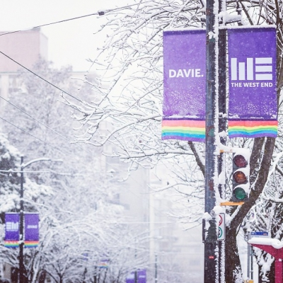 """@westendbia: """"The snow covered streets of the #DavieVillage yesterday. #westendyvr"""