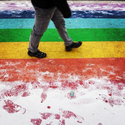"@westendbia: ""Fresh snow on the rainbow crosswalks at Davie and"