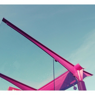 "@westendbia: ""Pink bus shelters and blue skies: Only in the"