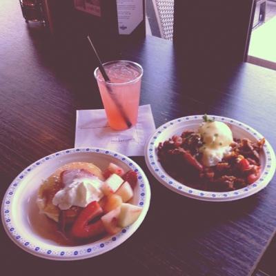 "@westendbia: ""Strawberry Buttermilk Pancakes and the Signature Prime Rib Hash"