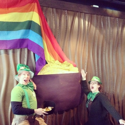 """@westendbia: """"Golly! A #WestEndRainbow! Our @QueerImprov leprechauns are finally getting"""