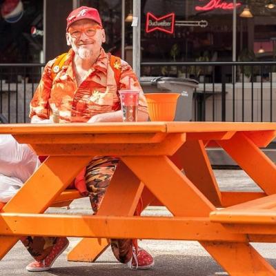 "@westendbia: ""Meet Hugo. His favorite picnic table at Bute Plaza"