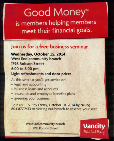 Free Business Seminar at Vancity