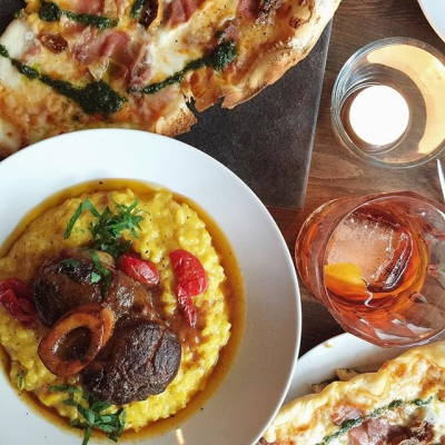 "@westendbia: ""Dinner tonight @grottoitalian: ossobucco and proscuitto & fig pizza."