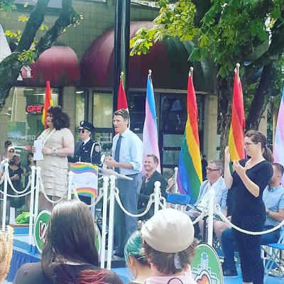 "@jimdevaplaza: ""Mayor Gregor Robertson welcomes Pride Week in the #jimdevaplaza"""