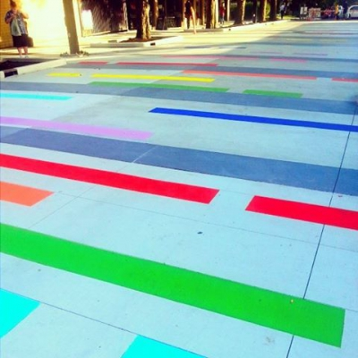 """@jimdevaplaza: """"The deconstructed rainbow has been painted in the plaza,"""